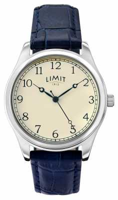 Limit Mens Blue Leather Strap Cream Dial 5632.01