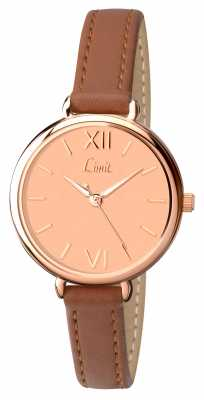 Limit Womens Brown Strap Rose Gold Dial 6073.01