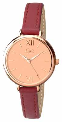Limit Womens Red Strap Rose Gold Dial 6075.01