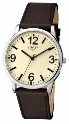 Limit Mens Brown Strap Cream Dial 5614.35
