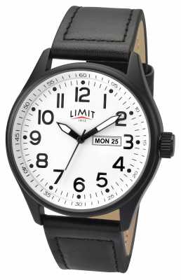 Limit Mens Pilot Black Strap White Dial 5623.01