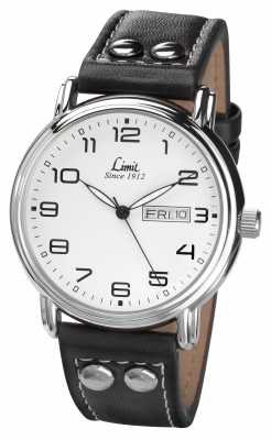 Limit Mens Black Leather Strap White Dial 5489.01