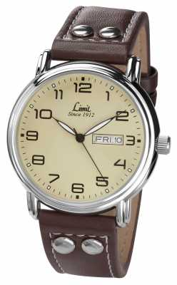 Limit Mens Brown Leather Strap Cream Dial 5490.01