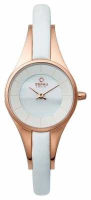Obaku Womans Rose Gold Case White Leather Strap V110LXVWRW