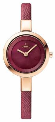 Obaku Womans Rose Gold Case Pink Leather Strap V129LXVQRD