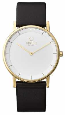 Obaku Mens Black Leather Strap Gold Case White Dial V143GXGWRB