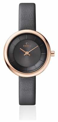 Obaku Womans Rose Gold Case Grey Leather Strap Grey Dial V146LXVJRJ