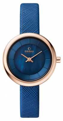Obaku Womans Rose Gold Case Blue Leather Strap Blue Dial V146LXVLRA
