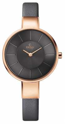 Obaku Womans Rose Gold Case Grey Leather Strap Grey Dial V149LXVJRJ