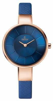 Obaku Womans Rose Gold Case Blue Leather Strap Blue Dial V149LXVLRA