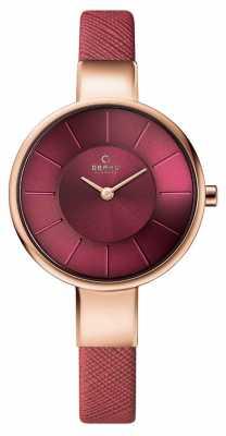 Obaku Womans Rose Gold Case Pink Leather Strap Pink Dial V149LXVQRD