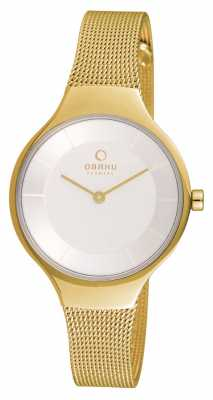 Obaku Womans Gold Case Gold Mesh Strap White Dial V166LXGIMG