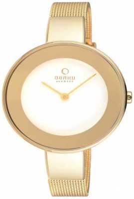 Obaku Womans Gold Case Gold Mesh Strap White Dial V167LXGIMG