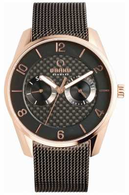 Obaku Mens Rose Gold Case Black Mesh Strap V171GMVBMB