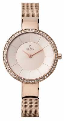 Obaku Womans Rose Gold Case Rose Gold Mesh Strap V179LEVVMV