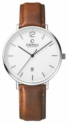 Obaku Mens Steel Case Brown Leather Strap White Dial V181GDCWRN