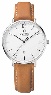 Obaku Mens Steel Case Light Brown Leather Strap White Dial V181GDCWRZ