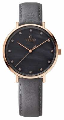 Obaku Womans Rose Gold Case Grey Leather Strap V186LXVJRJ