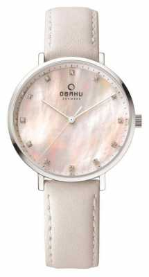 Obaku Womans Steel Case White Leather Strap V186LXCPRW