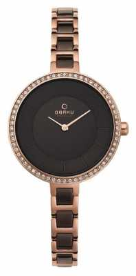 Obaku Womans Rose Gold Case Two Tone Strap Black Dial V191LEVNSV