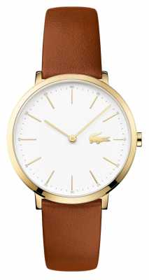 Lacoste Womans Brown Leather Strap White Dial Gold Case 2000947