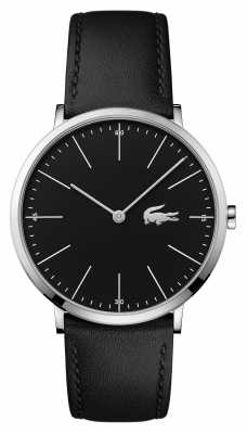 Lacoste Mens Black Leather Strap Black Dial Steel Case 2010873
