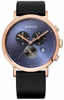 Bering Mens Chronograph Blue Dial Black Leather Strap 10540-567