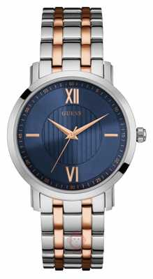 Guess Mens Two Tone Strap Analogue Blue Dial W0716G2