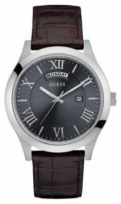 Guess Mens Metropolitan Leather Strap Silver Round Case W0792G5
