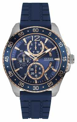 Guess Mens Jet Sport Blue Chronograph Dial Blue Strap W0798G2