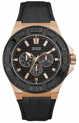 Guess Mens Force Sport Black Chronograph Dial Rose Gold Case W0674G6