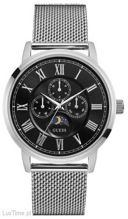 guess mens delancy silver mesh strap watch w0871g1 guess w0871g1