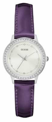 Guess Womans Chelsea Purple Leather Strap Cream Dial Stone Set W0648L10