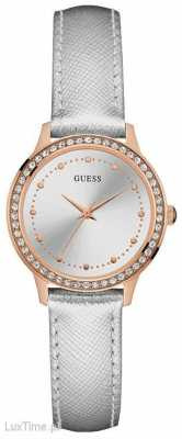 Guess Womans Chelsea Silver Leather Strap Rose Gold Case Stone Set W0648L11