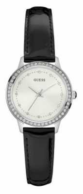 Guess Womans Chelsea Black Leather Strap White Dial Stone Set W0648L7