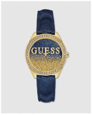 Guess Womans Glitter Girl Blue Strap Gold Case Stone Set W0823L5