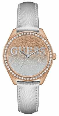 Guess Womans Glitter Girl Silver Strap Rose Gold Case Stone Set W0823L7