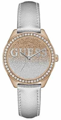 Guess Womans Glitter Girl Silver Strap Rose Gold Case Stone Set W0823L7