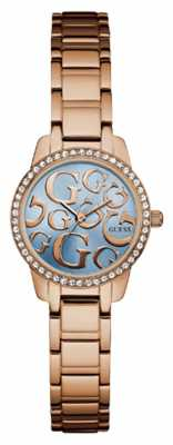 Guess Womans Greta Rose Gold Metal Strap Blue Dial W0891L3