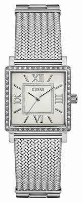 Guess Womans Highline Silver Mesh Strap White Rectangle Dial W0826L1