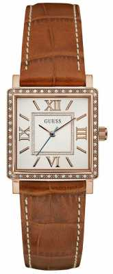 Guess Womans Highline Brown Leather Strap Rose Gold Case W0829L4