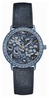 Guess Womans Little Wildflower Blue Leather Strap Patterned Dial W0821L2