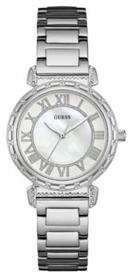Guess Womans South Hampton Silver Metal Strap Round White Dial W0831L1