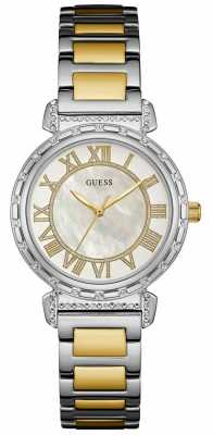 Guess Womans South Hampton Two Tone Metal Strap Round White Dial W0831L3