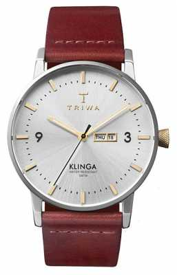 Triwa Unisex Gleam Klinga Tan Leather Strap Silver Dial KLST104-CL010312