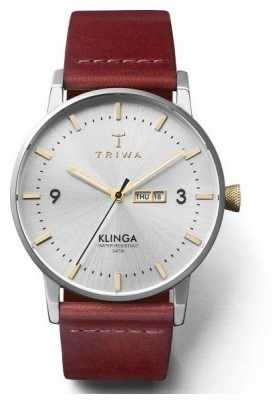 Triwa Unisex Gleam Klinga Tan Leather Strap Silver Dial KLST104-CL010312