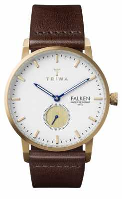 Triwa Mens Snow Falken Brown Leather Strap White Dial FAST110-CL010413