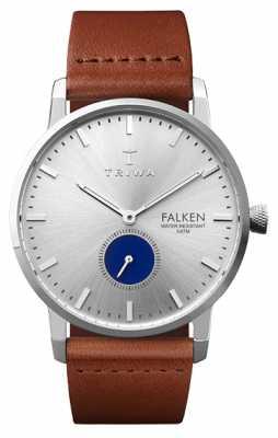 Triwa Mens Blue Eye Falken Brown Leather Strap Silver Dial FAST111-CL010212