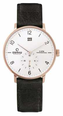 Obaku Mens Rose Gold Case Black Leather White Dial V190GDVWRB