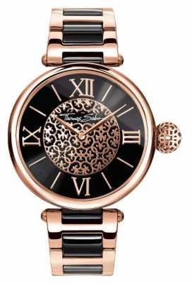 Thomas Sabo Womans Karma Two Tone Strap Black Dial WA0280-268-203-38